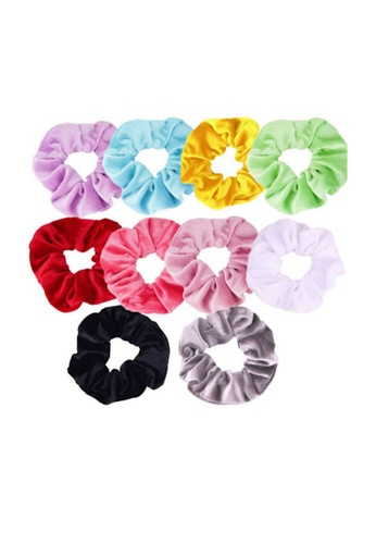 Glamorbit multi 10 Pieces Hair Tie Satin Scrunchies Set 8FC13AC1ABA834GS_1