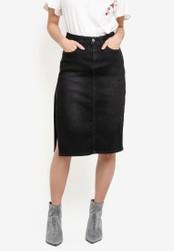 Something Borrowed black Highrise High Slit Pencil Skirt 9503BZZ39B9EAEGS_1