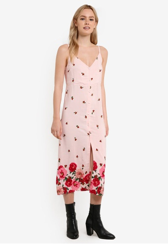 TOPSHOP pink Floral Border Slip Dress TO412AA0RFTFMY_1