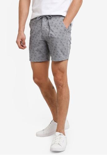 ZALORA grey Printed Cotton Shorts CCBF3AAB5C334FGS_1