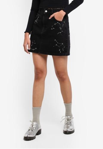 TOPSHOP black Moto Constellation Denim Skirt BB886AA4EA815AGS_1