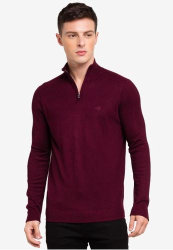 River Island 紅色 拉鍊針織毛衣 2FB97AA00AB95FGS_1