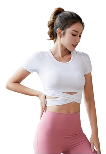 B-Code white ZYG3007-Lady Quick Drying Running Fitness Yoga Sports Top -White CD911AAD8CBC16GS_1