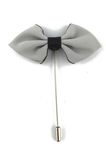Splice Cufflinks silver Grey Fabric Cloth Bow Lapel Pin SP744AC33FLASG_1