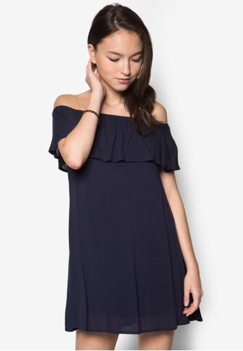 荷葉層次露肩連身裙, 服飾, 洋zalora taiwan 時尚購物網鞋子裝