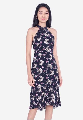 BEBEBEIGE multi BebeBeige Floral Halter-neck Sleeveless Midi Dinner Dress ED058AA1E8DA6EGS_1