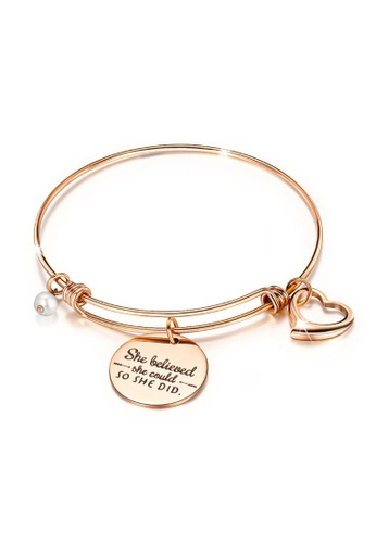 Bullion Gold 金色 BULLION GOLD She Believed She Could Heart Charm Rose Gold Layered Tubular Adjustable Inspirational Bangle F2D3AAC1E154C5GS_1