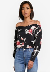 Dorothy Perkins black Black Bird Print Bardot Top DO816AA0SB5XMY_1