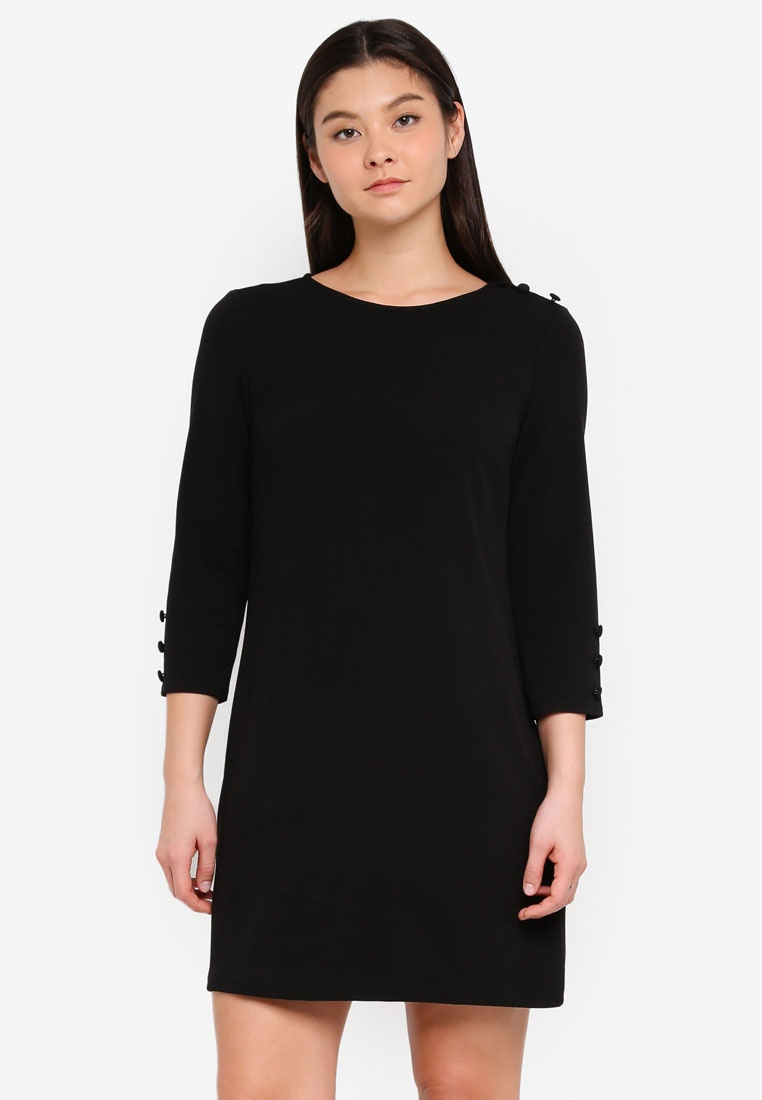 Dorothy Black Shift Button Black Dress Perkins UqP4BXt