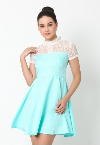 Heart and Feel green Skater Dress with Collar Detailed B224DAA68FABC7GS_1