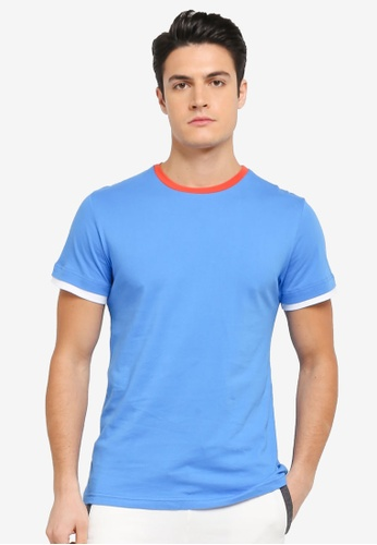 ZALORA blue and navy Colourblocking Tee 2568AAA07BA0B9GS_1