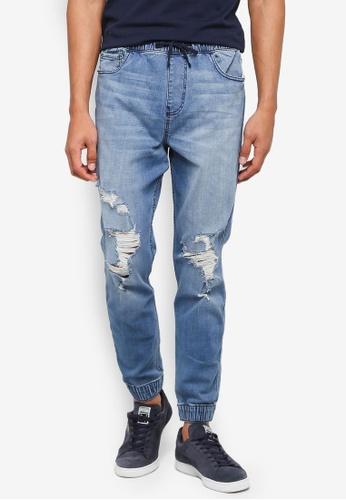 Hollister 藍色 抽繩縮口牛仔褲 8B03EAAEF47A92GS_1