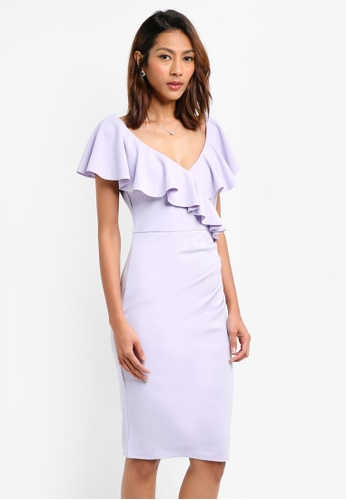 Goddiva purple Frilled V Neckline Midi Dress D2F95AA2AE4412GS_1