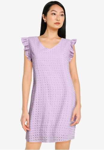ZALORA BASICS purple Sleeveless Eyelet Dress 846B9AADBCD792GS_1