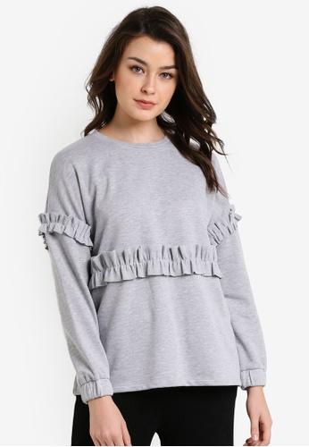 Zalia grey Ruffle Sweater F1397AADDAA96AGS_1