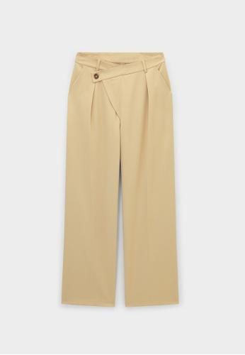 Pomelo beige Side Asymmetrical Button Pants - Cream 16704AA8296204GS_1