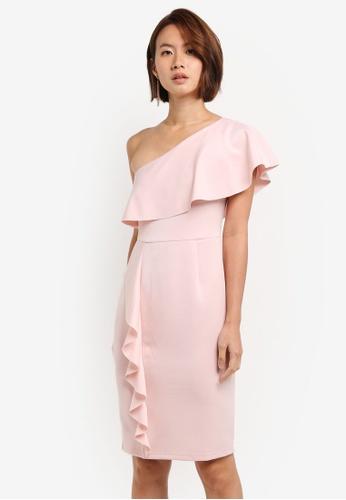 Dorothy Perkins pink Petite Ruffle Pencil Dress BFE5AAA9EDA3FDGS_1