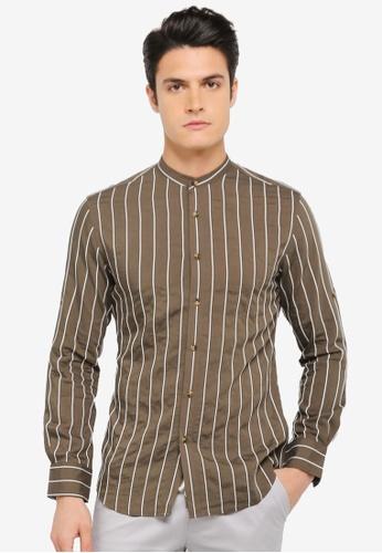 ZALORA brown Striped Lightweight Long Sleeve Shirt 681F1AA62F6975GS_1