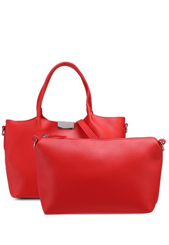 OVS red Textured Handbag With Insert 2367AAC356FE64GS_1