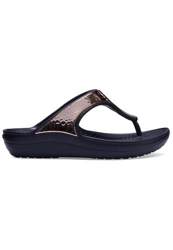 Crocs black and gold Women's Crocs Sloane Hammered Metallic Flip Blk/RGd D181DSH27A75B1GS_1