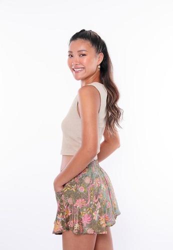 Aanya grey and pink and yellow Ayanna Summer Shorts - Sage 8354FAA1123A5BGS_1