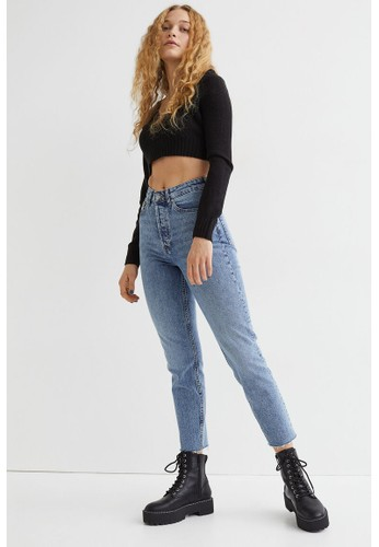 H&M blue Mom High Ankle Jeans 8461EAA24053C5GS_1