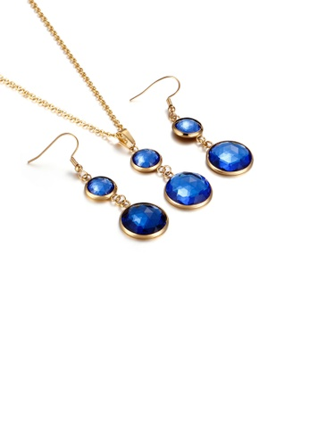 Glamorousky blue Fashion and Elegant Plated Gold Geometric Round Blue Cubic Zirconia 316L Stainless Steel Necklace and Earrings Set E2C21ACD294712GS_1