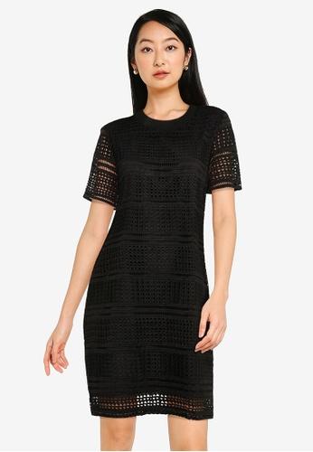 ZALORA BASICS black Crochet Shift Dress C4EC7AA7CFB0C4GS_1