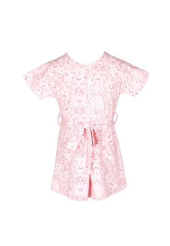 Mini Moley pink Floral Print Girl's Flare Dress 131DFKA6DCE1FCGS_1