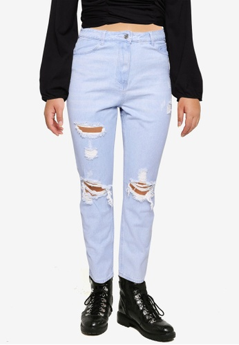 MISSGUIDED blue Plus Wrath High Waist Distressed Straight D4EE1AACCEC069GS_1