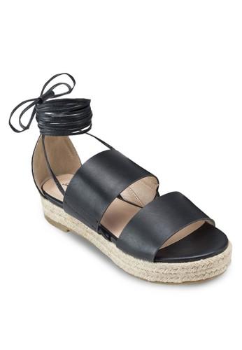 雙寬帶厚esprit 台北底麻編涼鞋, 女鞋, 鞋