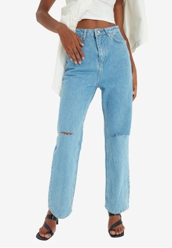 Trendyol blue Blue Ripped Wide Leg Jeans E8984AA1BEF6CFGS_1