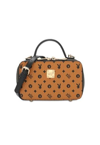 PLAYBOY BUNNY brown Ladies Monogram Top Handle Sling Bag 82067AC839B28DGS_1