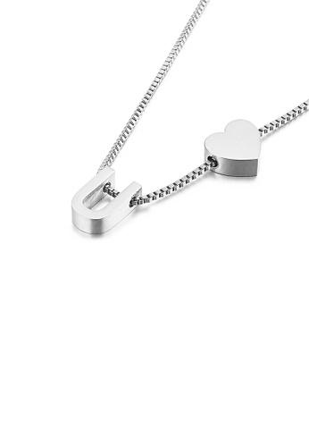 Glamorousky 銀色 簡約時尚心形英文字母U 316L鋼吊墜配項鏈 28EFCAC56177B0GS_1