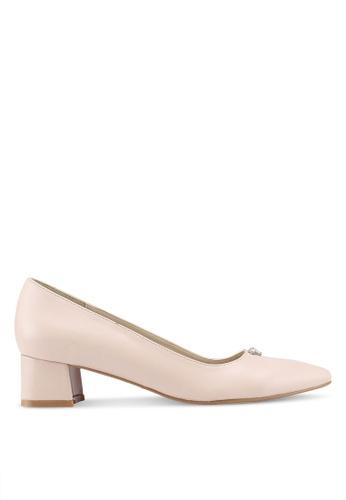 Velvet 米褐色 鑽飾粗跟鞋 43EF1SH900740BGS_1