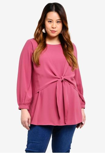 Ex'otico pink Plus Size Long Sleeve Blouse C33DDAA3DC72B8GS_1