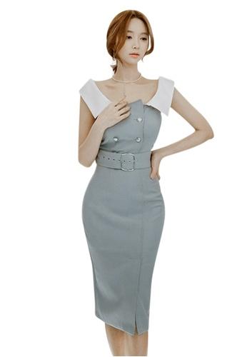 Sunnydaysweety blue 2017 S/S Blue Polyester Slim Cutting Dress UA040339 SU219AA47DVOSG_1