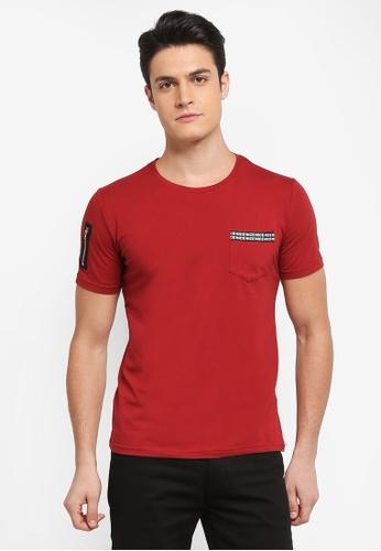 Fidelio 紅色 短袖印花口袋T恤 7ECC7AA0F30FA8GS_1