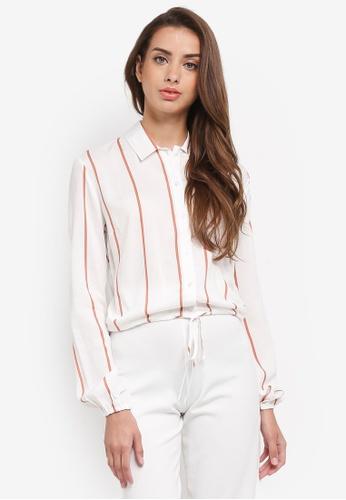 Miss Selfridge white Stripe Print Shirt 00530AA4A193FFGS_1