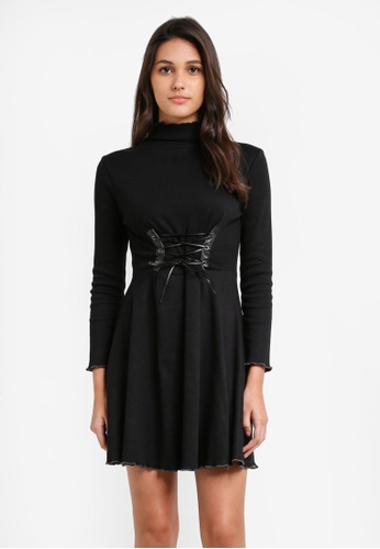 Something Borrowed black Lace Up Detail Fit And Flare Dress 36BB9AA6C7D2E6GS_1