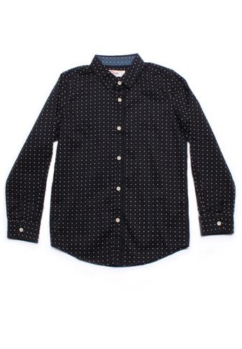 Mini Moley black Digital Pixel Boy's Long Sleeve Shirt C8B9DKAB8387DAGS_1