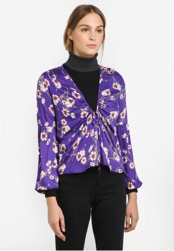 MANGO purple Ruched Detail Blouse MA193AA0RTEPMY_1