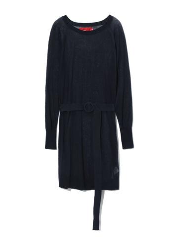 b+ab navy Belted sheer knit dress A40A7AAA44BA1FGS_1