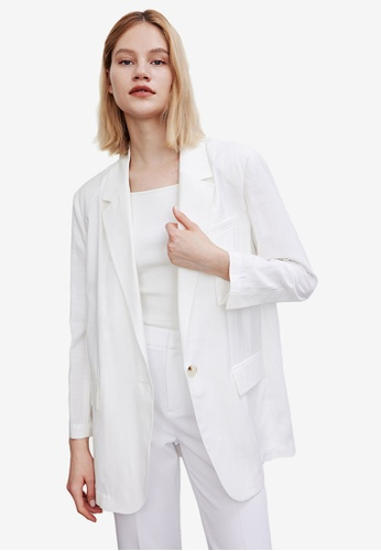 Urban Revivo white Loose Suit Jacket 64BC7AA80AB378GS_1