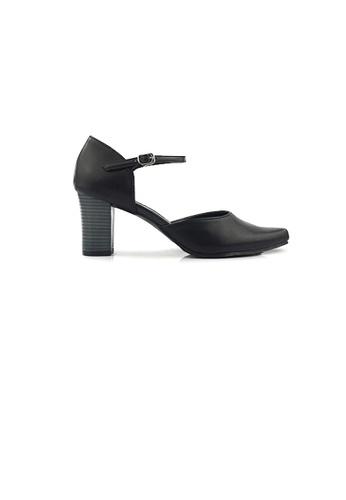SHINE black Ankle Strap Cut Out Point Toe Heels C1E5FSH658C312GS_1