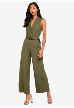 b255de75f3b6 Miss Selfridge green Petite Khaki Utility Jumpsuit E6AE1AA2BA71BCGS 1
