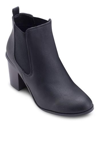 Dorian 仿zalora taiwan 時尚購物網鞋子皮粗跟低筒靴, 女鞋, 鞋
