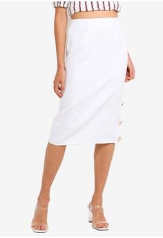 533e1075a8cbab Miss Selfridge white Petite White Button Edge Midi Skirt CB5BDAA37BD918GS 1