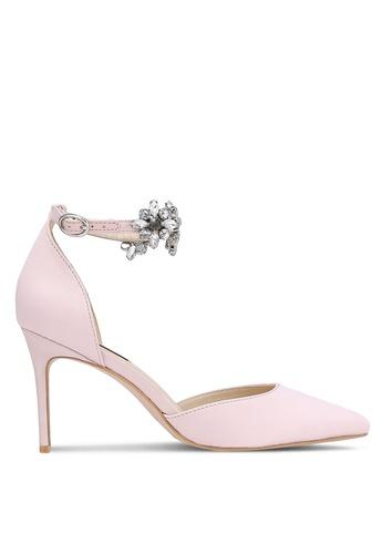 ZALORA 粉紅色 新年系列 水鑽繞踝尖頭高跟鞋 240F5ZZC0840C2GS_1