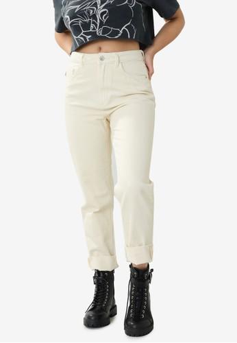 PIMKIE beige High-Waisted Straight Leg Jeans 1ABF9AA28958CBGS_1